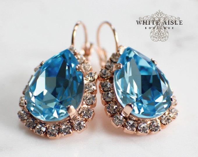 Aqua Rose Gold Bridal Earrings Swarovski Crystal Lever Back Earrings Vintage Style Crystal Wedding Earrings Special Occasion Jewelry