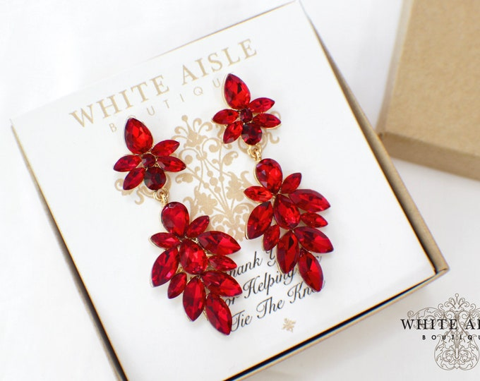 Bridesmaid Earrings | Bridesmaid Gifts | Bridesmaid Jewelry | Personalized Gifts | Chandelier Earrings | Red Crystal Earrings