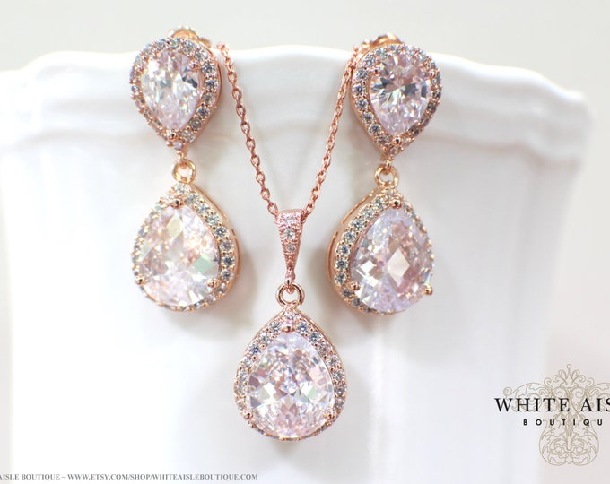 Rose Gold Wedding Jewelry Set Vintage Style Bridal Earrings Faceted Cubic Zirconia Tear Drop Crystal Wedding Earrings