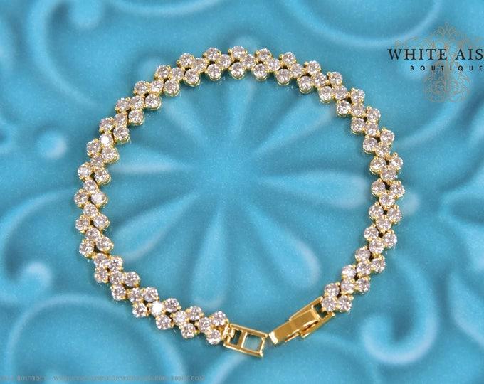 Gold Crystal Wedding Bracelet Vintage Inspired Cubic Zirconia Bridal Bracelet 3 Row Tennis Bracelet Wedding Jewelry Bridesmaid Gifts