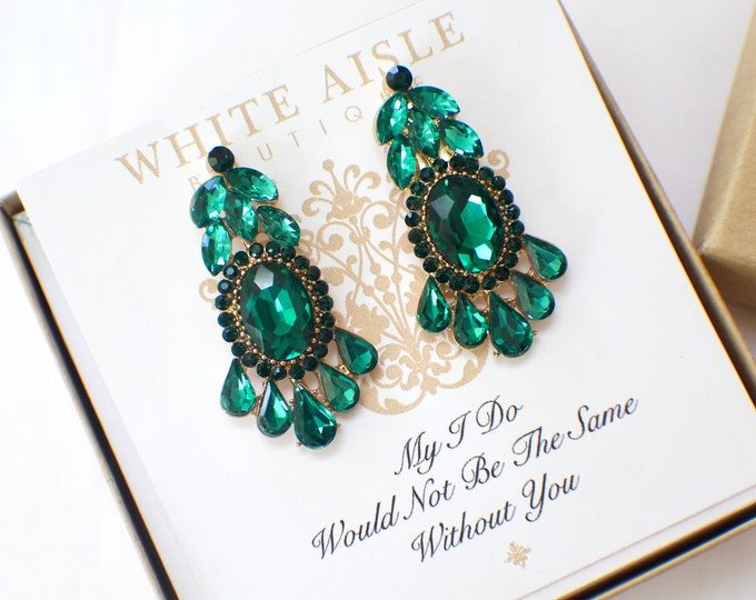 Bridesmaid Earrings Emerald Green Crystal Chandelier Earrings Bridesmaids Gift  Wedding Jewelry Vintage Inspired Bridal Party Gifts
