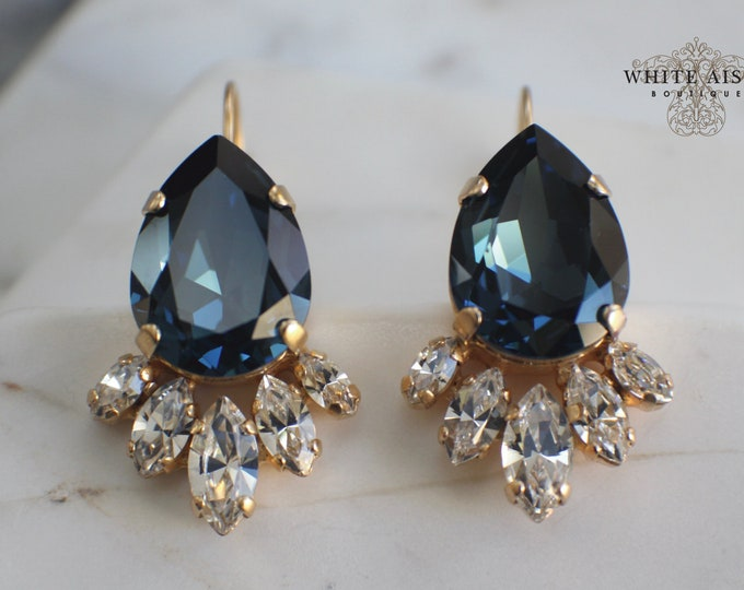 Navy Blue Swarovski Crystal Wedding Earrings Vintage Style Gold Bridal Earrings Gold Lever Back Earrings Special Occasion Jewelry