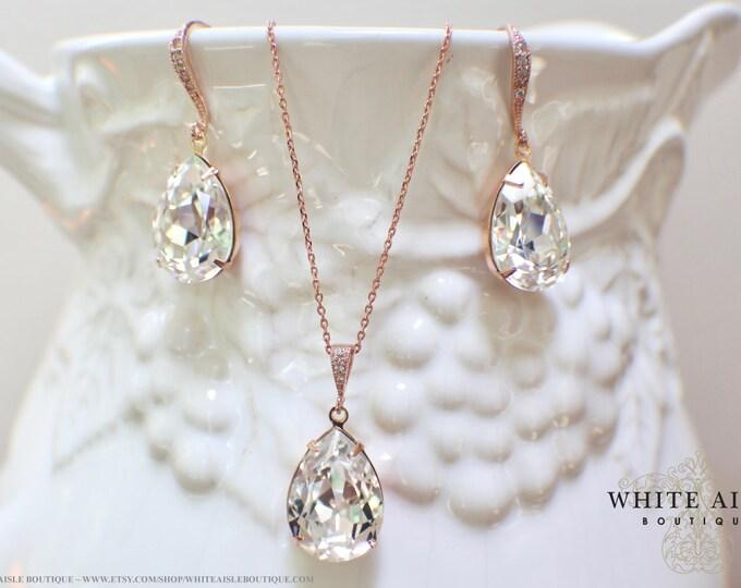 Custom Rose Gold Bridal Jewelry Set Vintage Rose Swarovski Crystal Bridesmaids Jewelry Set Tear Drop Pendant Earrings Bracelet