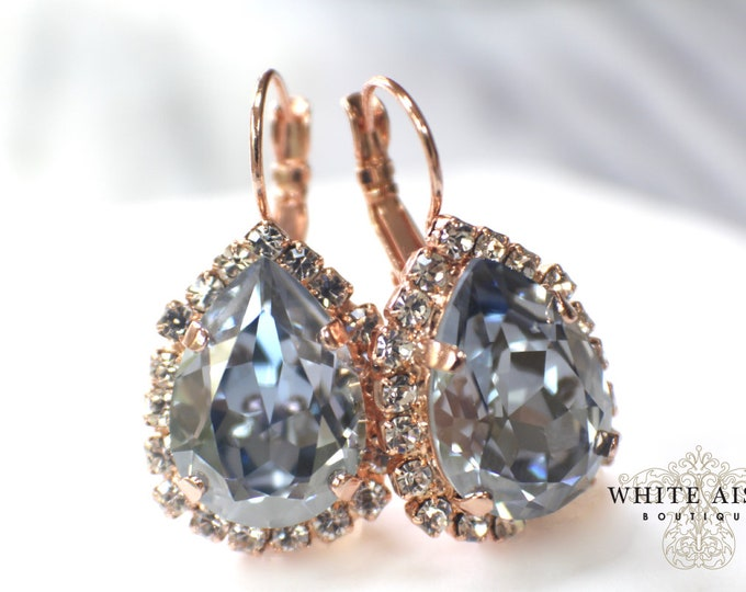 Dusty Blue Rose Gold Bridal Earrings Swarovski Crystal Lever Back Earrings Vintage Style Light Blue Gray Crystal Wedding Earrings