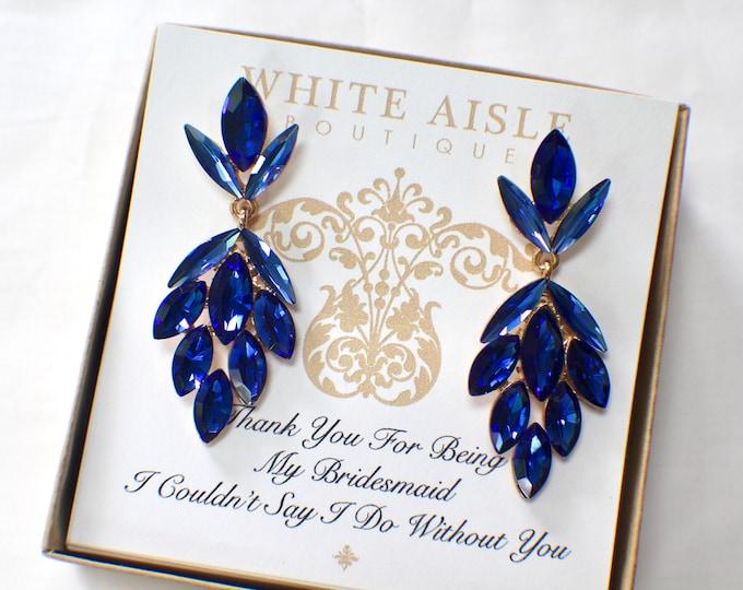 Blue Bridesmaid Earrings Vintage Style Earrings Crystal Earrings Bridesmaids Gift  Wedding Jewelry Bridesmaid Bridal Party Gifts