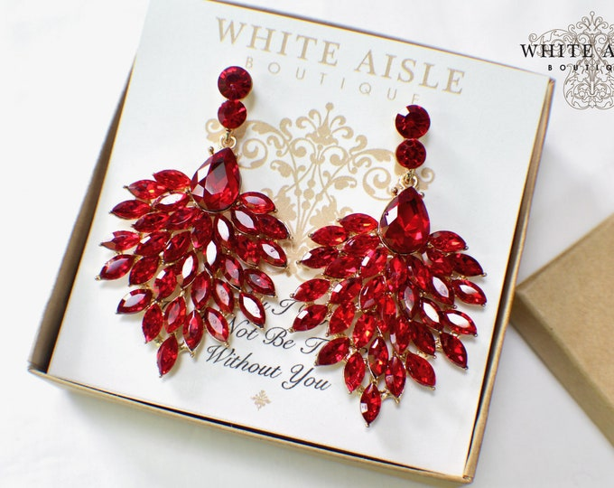 Bridesmaid Jewelry | Bridesmaid Gifts | Personalized Gifts | Bridesmaid Earrings | Chandelier Earrings | Red Crystal Earrings