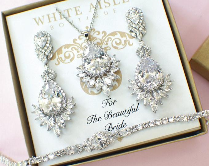 Bridal Jewelry Set | Bridesmaid Jewelry | Cubic Zirconia Set | Bridal Necklace | Bridal Earrings | Bridal Bracelet | Bridesmaid Gifts