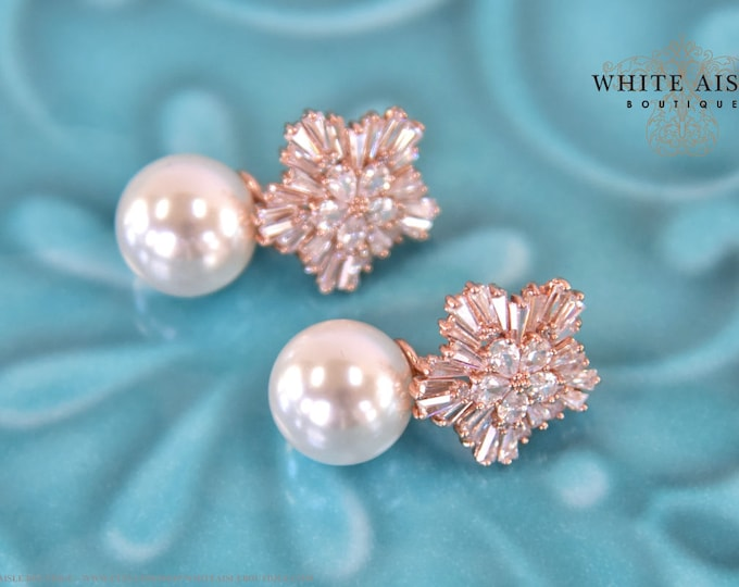 Rose Gold Pearl Bridal Earrings Vintage Style Cubic Zirconia Starburst Flower Pearl Earrings Special Occasion Jewelry Bridal Party Gifts