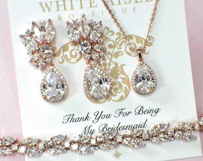 Rose Gold Bridal Jewelry Set | Bridesmaid Jewelry Set | Cubic Zirconia Jewelry | Bridal Necklace | Bridal Earrings | Bridal Bracelet