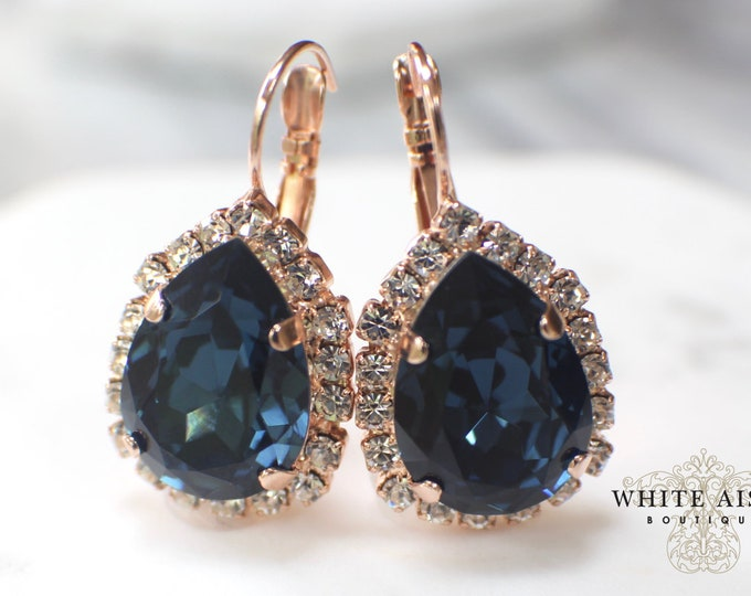 Navy Blue Rose Gold Bridal Earrings Swarovski Crystal Lever Back Earrings Vintage Style Crystal Wedding Earrings