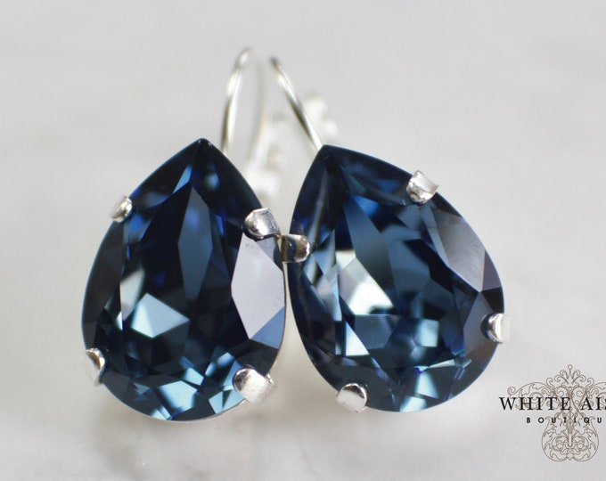 Navy Blue Wedding Earrings Swarovski Crystal Bridal Earrings Vintage Style Bridal Earrings Bridesmaids Gifts Special Occasion Jewelry