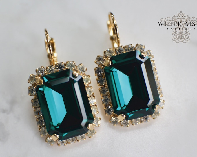 Emerald Green Bridal Earrings Victorian Wedding Earrings Swarovski Crystal Emerald Cut Earrings Wedding Special Occasion Jewelry