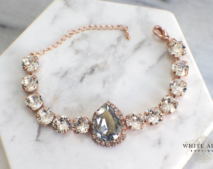 Custom Bridal Bracelet Dusty Blue Swarovski Crystal Bridal Bracelet Rose Gold Vintage Style Wedding Statement Bracelet Tennis Bracelet