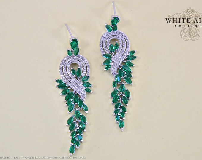 Emerald Green Crystal Bridal Earrings Vintage Style Statement Dangle Earrings Special Occasion Jewelry Bridesmaid Bridal Party Gifts