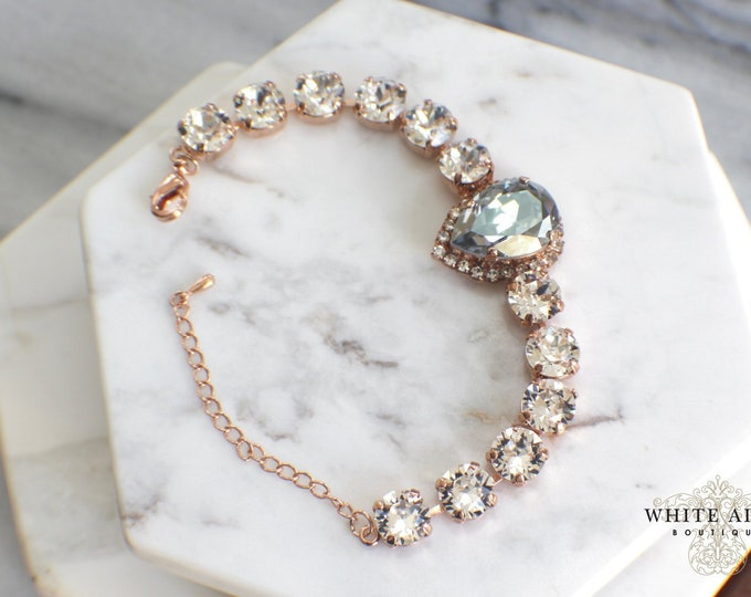 Custom Swarovski Crystal Bridal Bracelet Rose Gold Vintage Style Wedding Statement Bracelet Tennis Bracelet