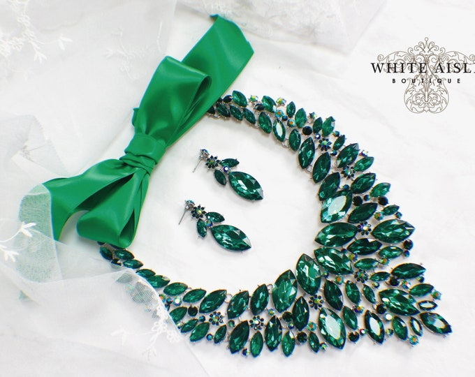 Emerald Green Bridal Jewelry Set Vintage Style Crystal Wedding Statement Necklace Earrings Set Special Occasion Jewelry