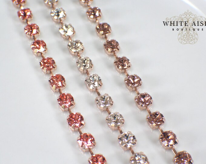 Custom Blush Rose Gold Swarovski Crystal Bridal Bracelet Tennis Bracelet Wedding Statement Bracelet Special Occasion