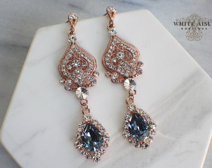 Blue Chandelier Bridal Earrings Vintage Style Rose Gold Filagree Earrings Swarovski Crystal Wedding Statement Earrings Special Occasion