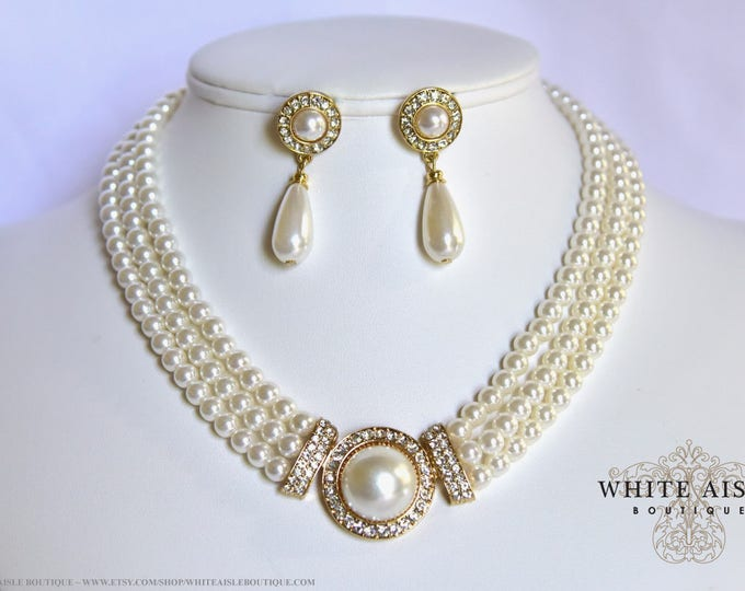 Ivory Pearl Bridal Jewelry Set Crystal 3 Strand Wedding Necklace Earrings Vintage Inspired Prom Evening Pageant Jewelry