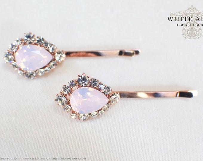Blush Pink Rose Gold Bridal Jewelry Set Custom Swarovski Crystal Pendant Earrings Bracelet Hair Comb Hair Pins Art Deco Wedding Jewelry