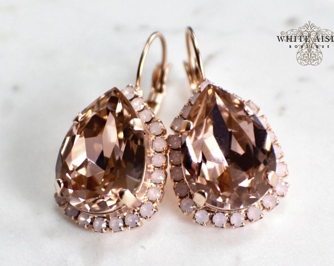 Blush Bridal Earrings Vintage Style Swarovski Crystal Rose Gold Wedding Statement Earrings Special Occasion Jewelry Bridal Jewelry