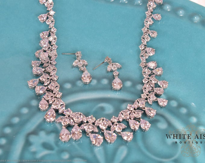 Vintage Inspired Cubic Zirconia Bridal Statement Necklace Earrings Set Wedding Jewelry Set