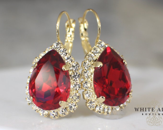 Ruby Red Bridal Earrings Holiday Earrings Swarovski Crystal Lever Back Earrings Vintage Style Gold Crystal Wedding Earrings