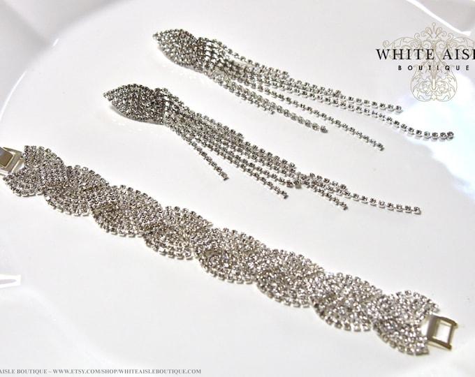 Art Deco Style Bridal Earrings Bracelet Set Wedding Jewelry Set Long Vintage Inspired Crystal Dangle Earrings Bracelet Set
