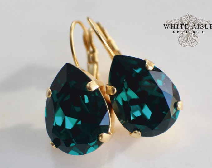 Emerald Green Wedding Earrings Swarovski Crystal Earrings Gold Vintage Style Crystal Bridal Earrings Bridesmaids Gifts Wedding Jewelry