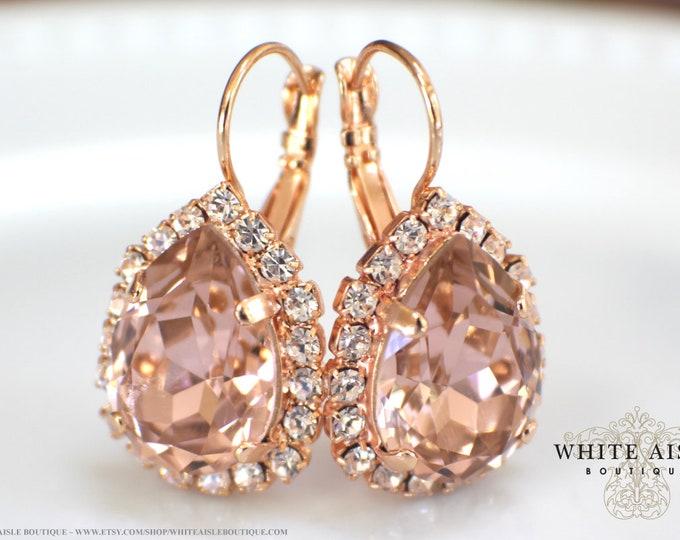 Blush Pink Rose Gold Bridal Earrings Swarovski Crystal Earrings Vintage Style Crystal Bridal Earrings Bridesmaids Gifts Wedding Jewelry