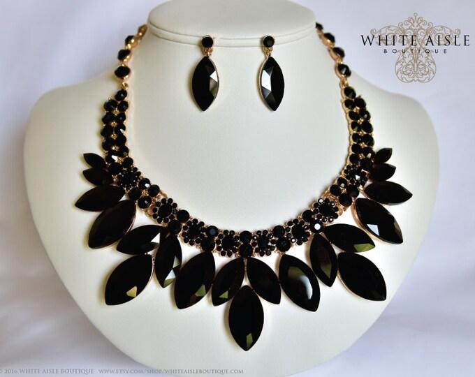 Black Bridal Jewelry Set, Vintage Inspired Bridal Necklace, Rhinestone Necklace, Crystal Bridal Necklace, Chunky Necklace, Wedding Jewelry