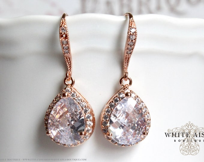 Rose Gold Bridal Earrings Wedding Jewelry Bridal Earrings Faceted Cubic Zirconia Tear Drop Crystal Earrings Gold Plated Brass
