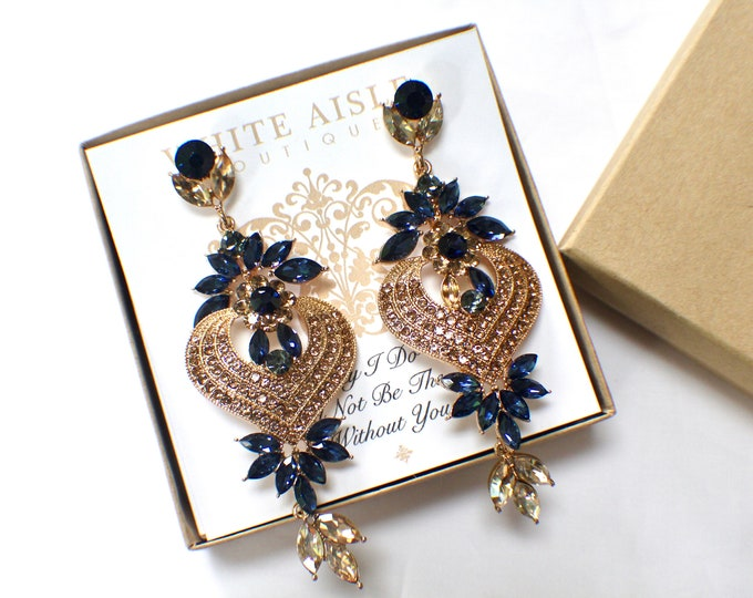 Bridesmaid Gift Navy Blue Bridesmaid Earrings Vintage Style Champagne Crystal Earrings Wedding Jewelry Bridesmaids Bridal Party Gifts