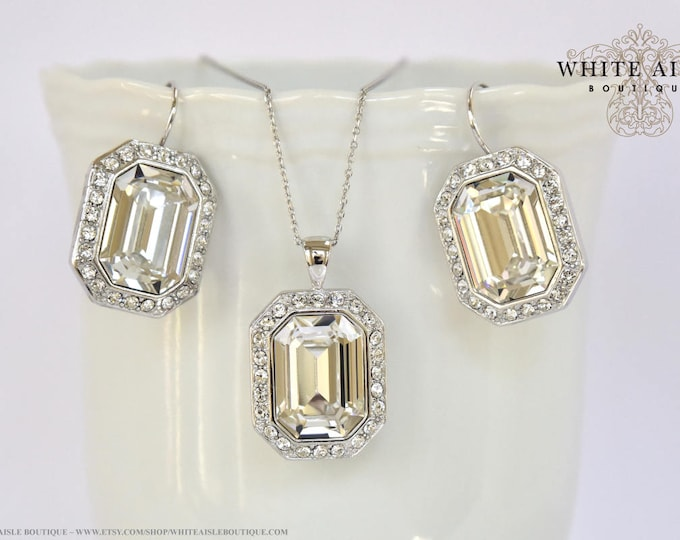 Victorian Bridal Earrings Emerald Cut Swarovski Crystal Pendant Earrings Set Vintage Style Wedding Jewelry Set Special Occasion Jewelry