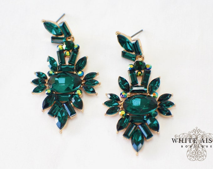 Vintage Style Emerald Green Crystal Earrings Bridesmaids Gift  Wedding Jewelry Bridal Bridesmaids Bridal Party Gifts
