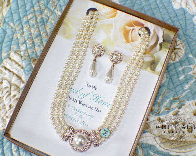 Personalized Bridesmaid Gift | Bridesmaid Jewelry Set | Bridesmaid Pearl Necklace Earrings Bracelet Set | Bridesmaid Gifts
