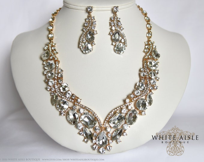 Gold Bridal Necklace, Wedding Jewelry Set, Crystal Bridal Statement Necklace Earrings, Bridal Earrings, Vintage Style