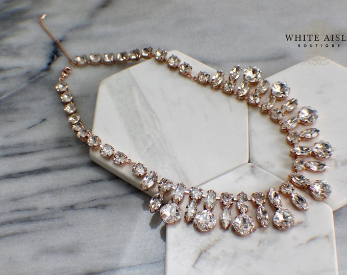 Swarovski Crystal Bridal Necklace Rose Gold Vintage Style Wedding Statement Necklace Special Occasion Jewelry