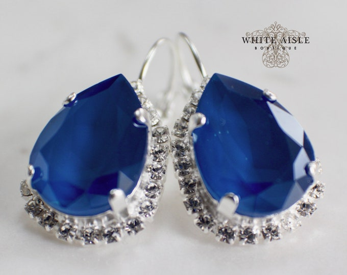 Cobalt Blue Bridal Earrings Vintage Style Swarovski Crystal Wedding Earrings Lever Back Earrings Bridesmaids Gift Special Occasion Jewelry