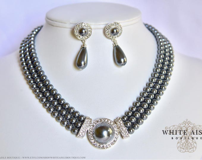 Gray Pearl Bridal Jewelry Set Crystal 3 Strand Wedding Necklace Earrings Vintage Inspired Prom Evening Pageant Jewelry