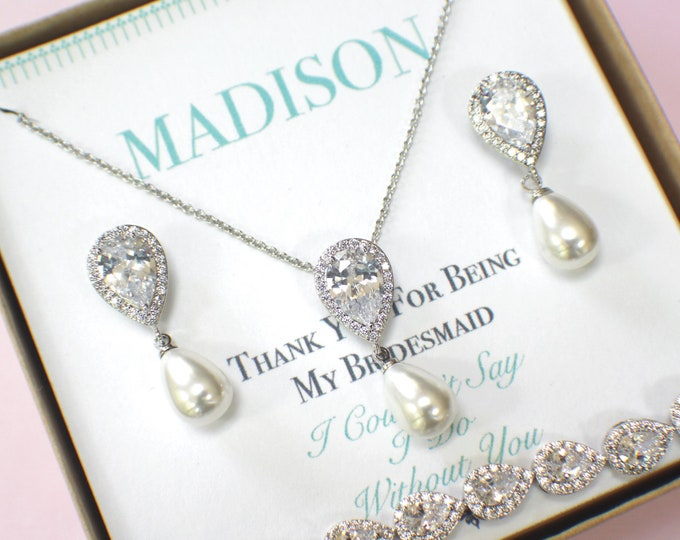 Pearl Bridesmaid Jewelry Set | Bridesmaid Gifts | Pearl Necklace |  Pearl Earrings | Personalized Gifts | Wedding Jewelry Sets