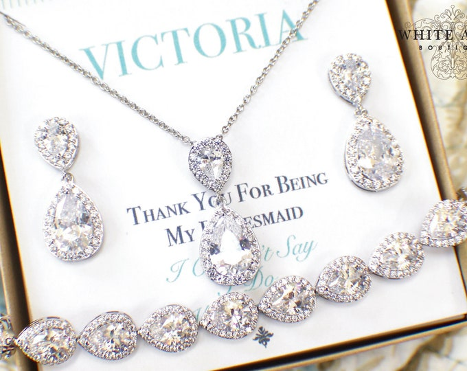 Bridesmaid Jewelry Set | Silver Bridesmaid Jewelry | Bridesmaid Gifts | Personalized Gifts | Wedding Jewelry Sets | Wedding Party