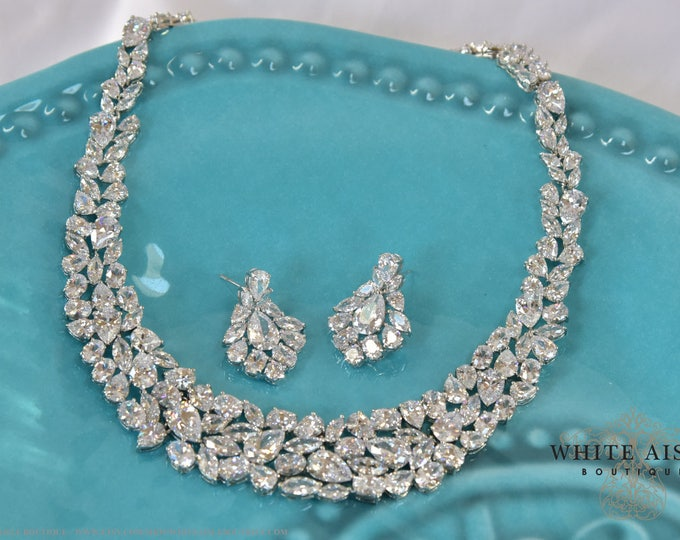 CZ Bridal Jewelry Set Necklace Earrings Wedding Jewelry Set Statement Necklace Special Occasion