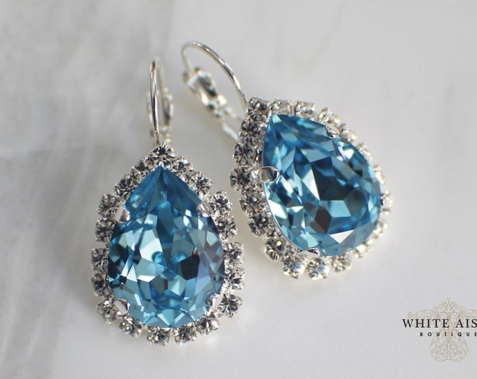 Aqua Bridal Earrings Swarovski Vintage Style Crystal Earrings Lever Back Dangle Earrings  Wedding Earrings