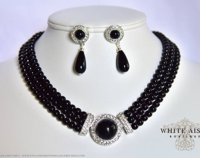 Black Pearl Bridal Jewelry Set Crystal 3 Strand Wedding Necklace Earrings Vintage Inspired Prom Evening Pageant Jewelry
