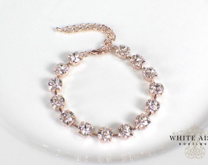 Custom Rose Gold Swarovski Crystal Bridal Bracelet Tennis Bracelet Wedding Statement Bracelet Special Occasion
