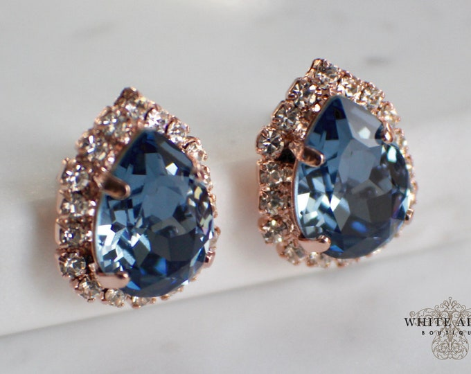 Blue Bridal Stud Earrings Vintage Style Swarovski Crystal Pear Shaped Wedding Earrings Rose Gold Statement Earrings