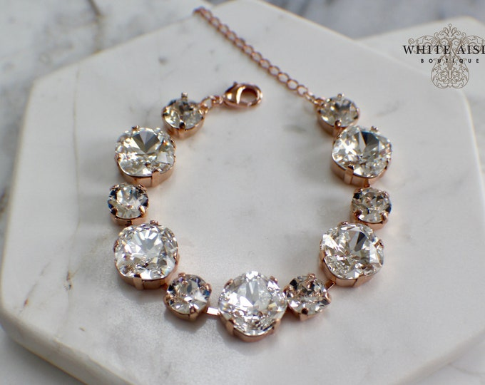 Swarovski Crystal Bridal Bracelet Rose Gold Vintage Style Wedding Statement Bracelet Tennis Bracelet Special Occasion Jewelry