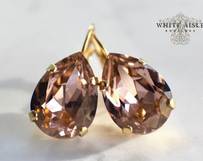 Blush Bridal Earrings Swarovski Crystal Earrings Gold Vintage Style Crystal Bridal Earrings Bridesmaids Gifts Wedding Jewelry