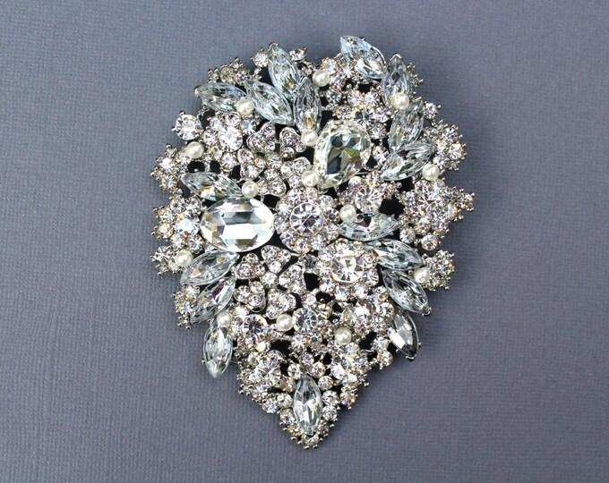 Deluxe Wedding Brooch, Bridal Jewelry, Vintage Style Brooch, Pearl Brooch, Crystal Brooch, Rhinestone Brooch with White Swarovski Pearls